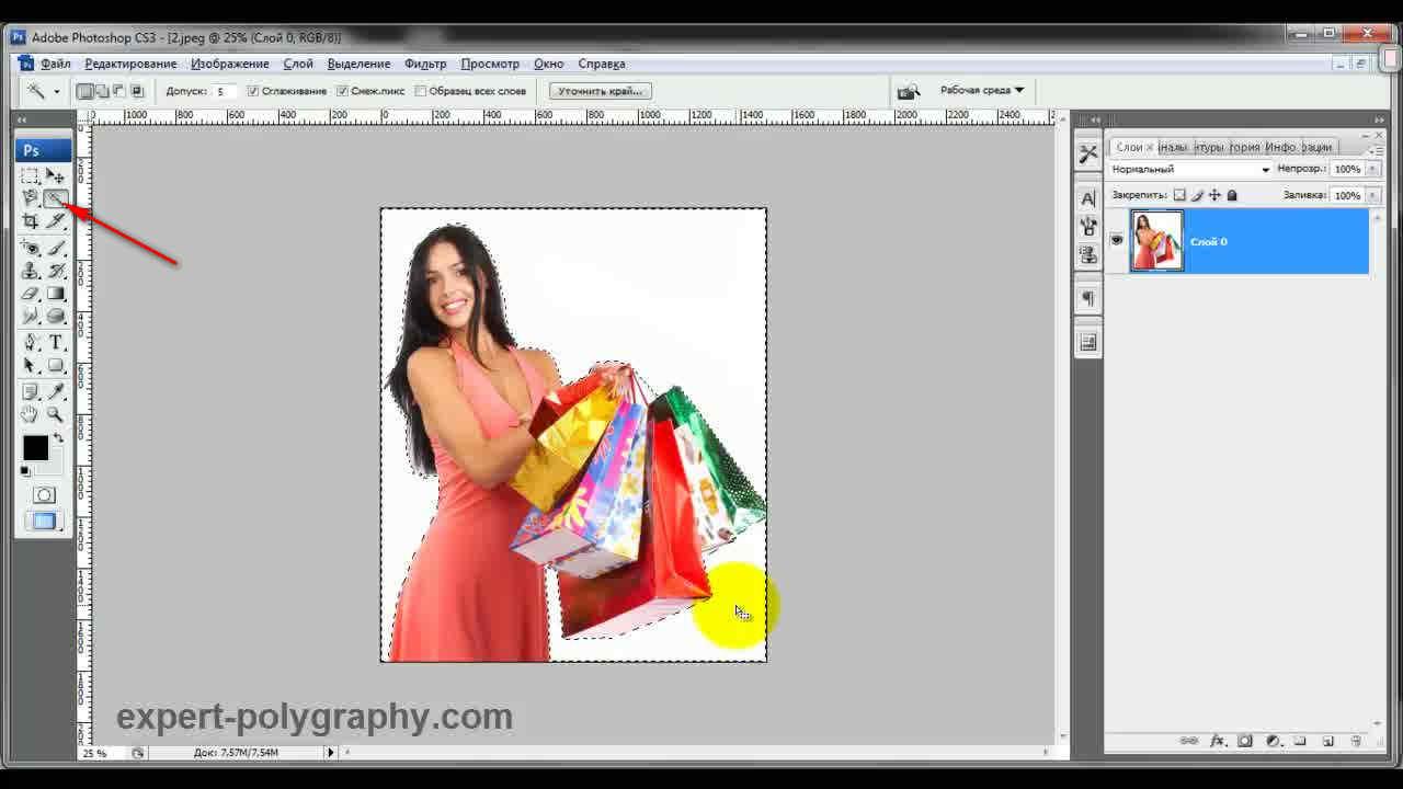 как вырезать на фото человека в paint