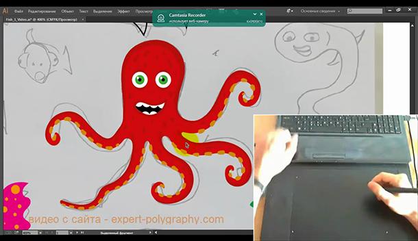 Рисуем осьминога на планшете Wacom. Видео урок.
