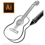 Рисуем гитару на планшете. Контурный вектор.